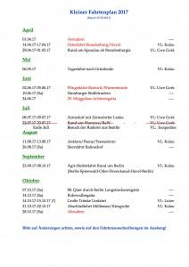 Fahrtenplan BRC Ägir 2017, Stand April 2017
